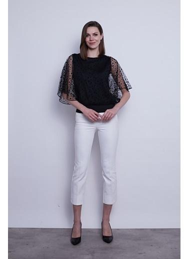 Jument Kadın Organze Desenli Tül Detaylı Kayık Yaka Yarasa Kol Bluz-Siyah Puan Siyah